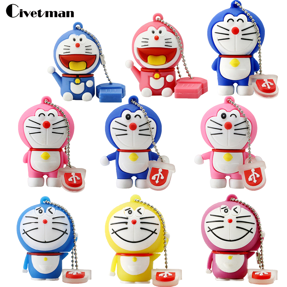 USB 2.0 Flash Drives Cartoon Doraemon Cat Memory Stick Pen Drive 4GB 8GB 16GB 32GB 64GB 128GB Pendrives Usb-flash Disk Gifts