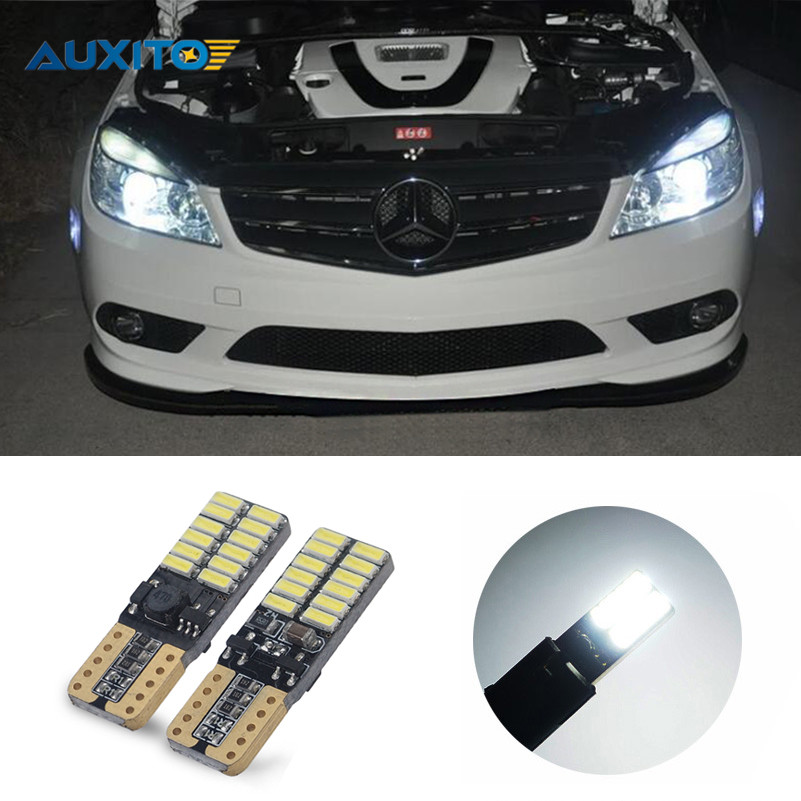 For Mercedes Benz W202 W220 W204 W203 W210 W124 W211 W222 X204 W164 T10 W5W 24 LED 4014SMD Parking Lights Sidelight No Error canbus t10 w5w led car parking lights wedge side light for mercedes benz w203 w204 w211 w210 w202 w220 w164 w124 x204 w222 amg