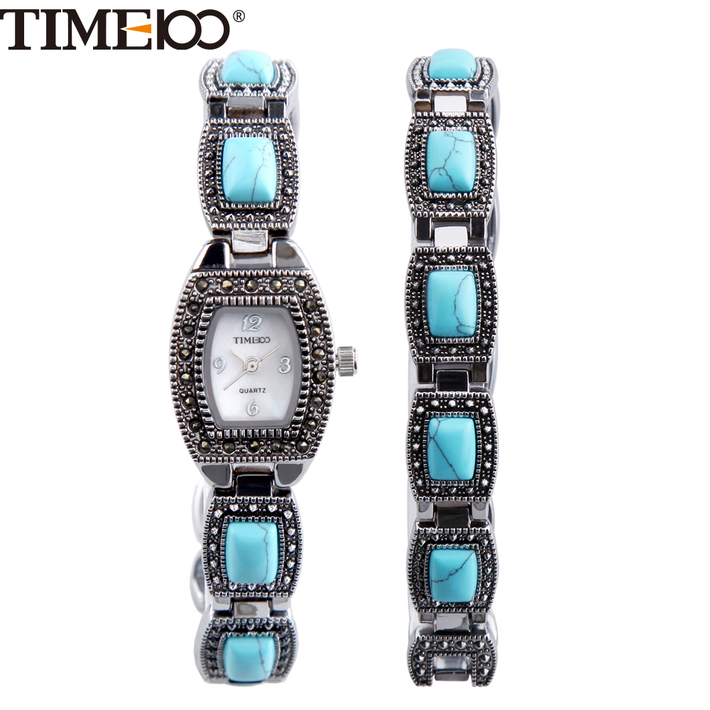 Charm Bracelet Watches: TIME100 Women's Watches Blue Turquoise Rhinestone Bracelet