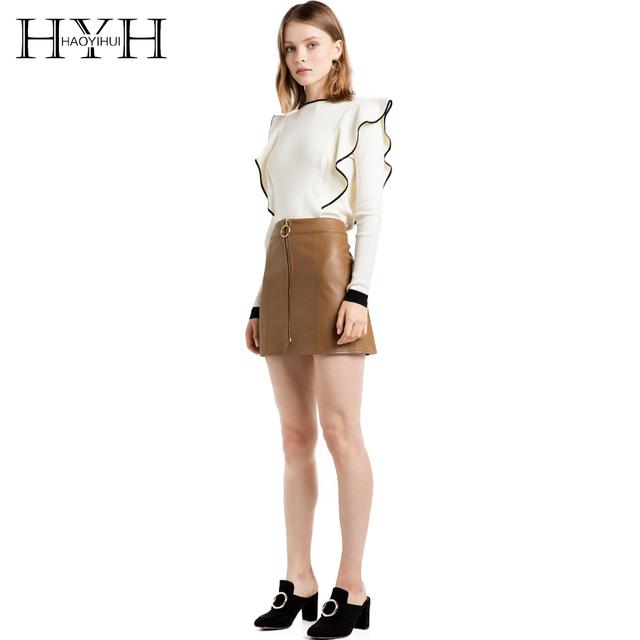 Hyh haoyihui bloco de cor camisola básica mulheres ruffles o pescoço pulôveres de manga longa senhoras da forma ol malha jumpers brancas do sexo feminino