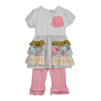 New Arrival Baby Girls 2 Pieces Outfits White Top With Two Pocket  Knitted Cotton Pink Pants Children Ruffle Clothing S075