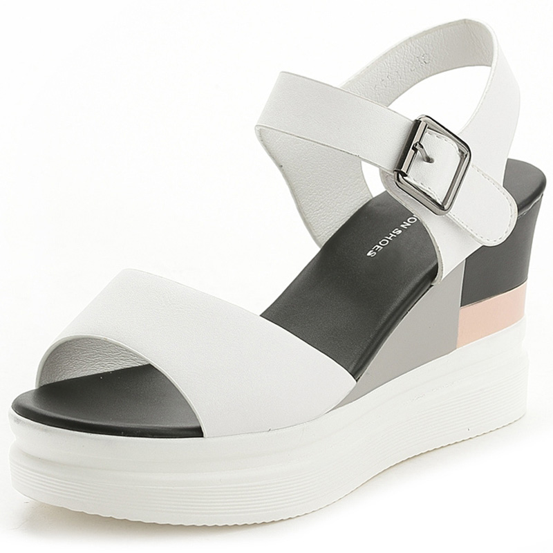 f524a8c5e6 WDZKN New Summer Wedge Sandals Women High Heels 8.5cm Black White  Comfortable Women Platform Sandals Pu Leather Female Shoes-in High Heels  from Shoes on ...