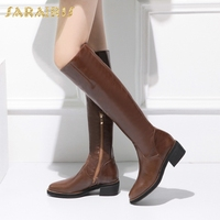 SARAIRIS Brand new Genuine Leather Square Heels Cow Leather Boots Woman Shoes Zip Up Wholesale Shoes Woman Knee High Booots