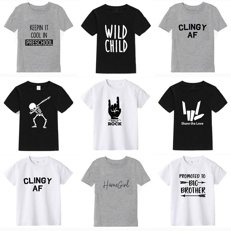 Short Sleeve 2019 summer boys t shirt 100% cotton t-shirt girl tops kids short sleeve child t-shirt for boy birthday clothing
