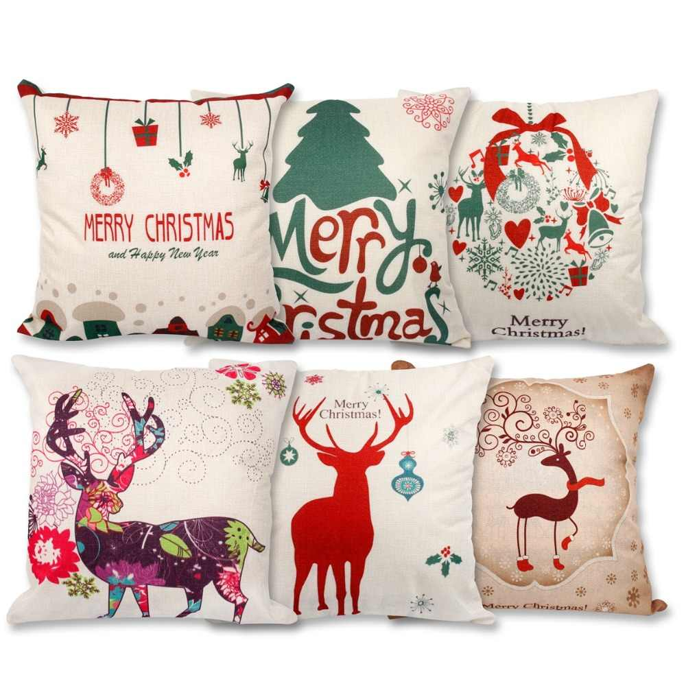Frigg Merry Christmas Cushion Cover Linen Cotton Happy New Year Letter Tree Cushion Covers Cute Soft Sofa Car Seat Cushion Case
