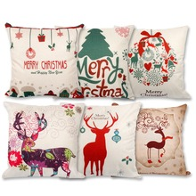 Frigg Merry Christmas Cushion Cover Linen Cotton Happy New Year Letter Tree Covers Cute Soft Sofa Car Seat Case