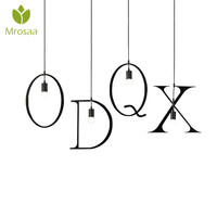 Creative ABCDEFGH New Letters Wrought Iron Vintage Pendant Lights 26 English Alphabet Hanging Lamp For Loft