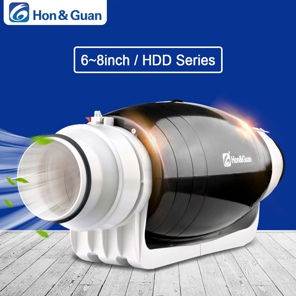 Hon Guan 6 8 inch 220V Exhaust Fan Ultra Silent Inline Duct Residential Office Bathroom Powerful