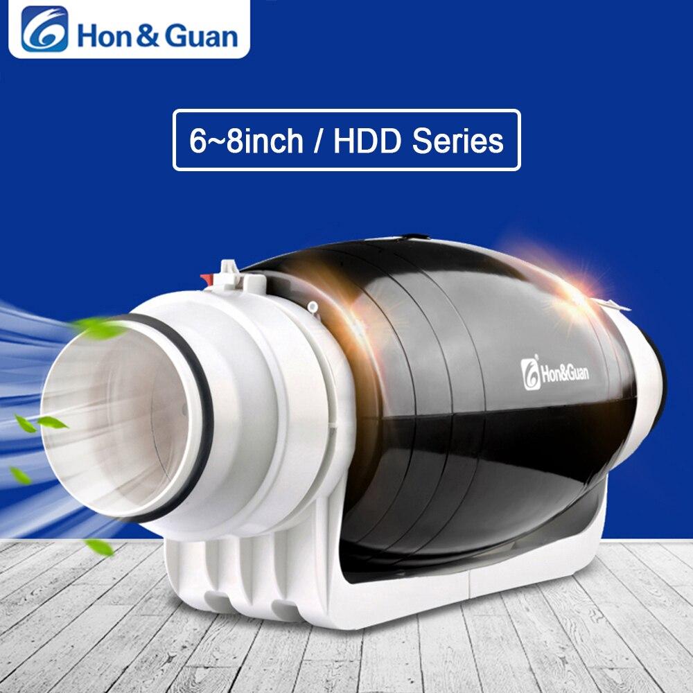 Hon & Guan 6 8 pouces 220 V ventilateur d'échappement Ultra silencieux en ligne conduit résidentiel bureau salle de bains Ventilation puissante cuisine ventilateur mural