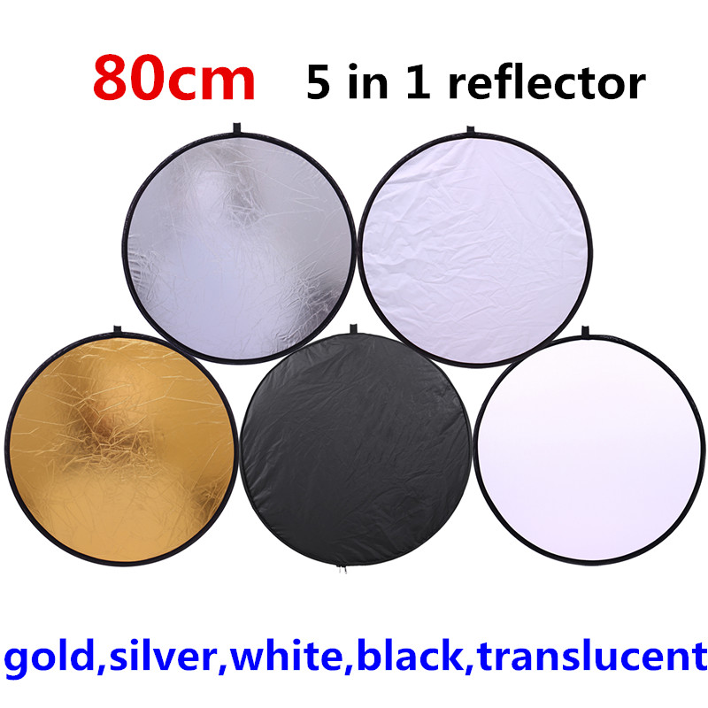 CY 80cm 5 In 1 Gold Silver White Black Translucent New Portable Collapsible Light Round Photography/Photo Reflector For Studio