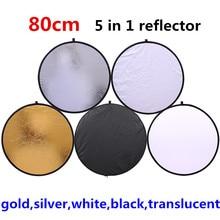 CY 80 см 5 в 1 золото серебро белый черный прозрачный Новый Портативный Складной Свет Круглый Фото/Фото Отражатель для Студии