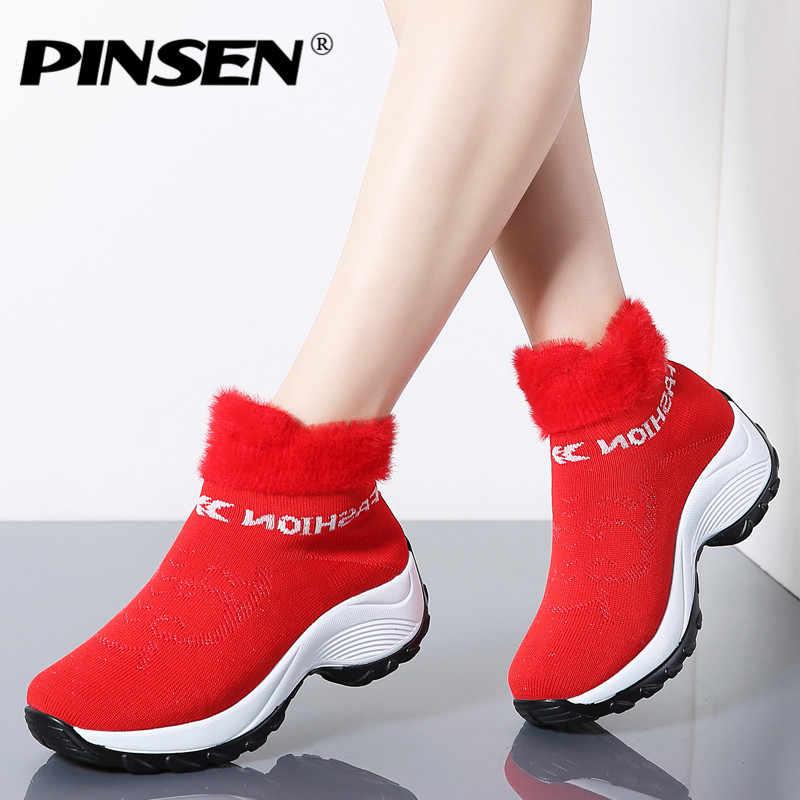 PINSEN 2019 Kış Kadın Botları Moda Platformu Takozlar Ayakkabı Kadın Slip-on Kar Botları Kadınlar Sıcak Kürk Çorap ayakkabı Büyük Boy
