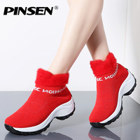 PINSEN 2019 Winter Women Boots Fashion Platform Wedges Shoes Woman Slip on Snow Boots Women Warm Fur Sock Boots Shoes Big Size