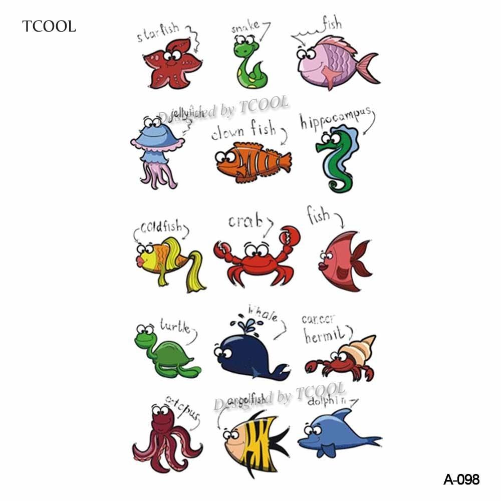 HXMAN Small Sea Animals Women Temporary Tattoo Sticker Tattoos For Men Body Art Kids Children Hand Fake Tatoo 10.5X6cm A-098