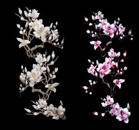 Grande Fiore di Magnolia Ricamo Grande Applique Patch Sew On Vestito di Stoffa Decorazione Bastone Accessorio Rosa/Beige Pizzo FabricA385