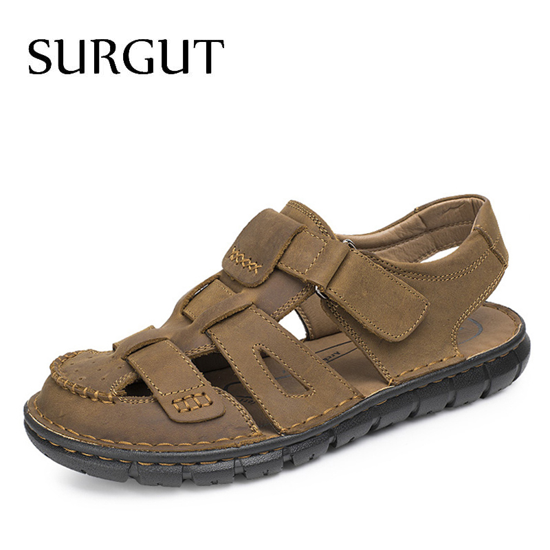 SURGUT Comfortable Handmade Men Sandals Genuine Leather Soft Summer Male Shoes Retro Sewing Casual Beach Footwear Shoes For Men