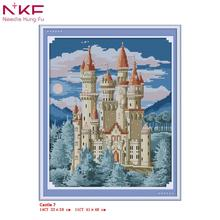 NKF Cross Stitch Kits Printed Fabric 11/14CT Castle 7 Landscape Needle Crafts DIY Handmade Gift Wall Painting
