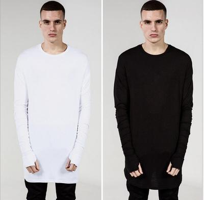 High Fashion Mens Long Sleeve curve bottom extended t shirt black White Gray big and tall Extra oversized tee shirts Men blk