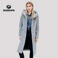 ROHOPO Winter women Hooded Collar Woolen Warm Coat Blends Quality Windproof Single Breast Preppy Casual Female Long Coat Blend