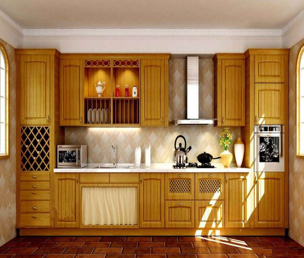 Solid Wood Kitchen: Custom Made Antique Modular Solid Wood Kitchen Cabinet-in