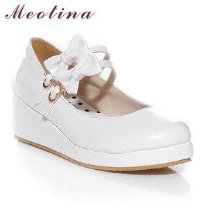 Image 3 - Meotina 큰 사이즈 9 10 신발 여성 펌프 라운드 투 메리 제인 블랙 플랫폼 신발 웨지힐 보우 숙녀 신발 옐로우 화이트
