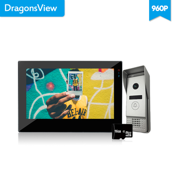 цена на Dragonsview  7 Inch Video Door Phone Intercom Doorbell Camera Touch Screen 960P AHD  Unlock With SD Card Record Motion Detection