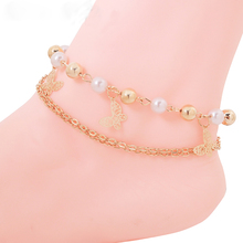 High Quality Double Gold Color Chains Sexy Butterfly Bead Pendant Body Anklets Jewelry For Women Summer Style Free Shipping2017