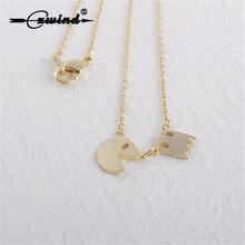 3da27488160c Cxwind oro plata Pac Man collar dorado joyería de traje para la escuela los  jugadores cadena larga collar mujeres joyería regalo.