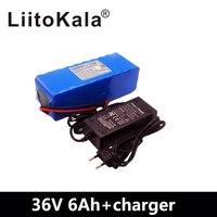LiitoKala 36V 36V 8AH 6ah 500W 18650 bateria de lítio bicicleta Elétrica da bateria com o caso DO PVC para elétrica bicicleta carregador 42V 2A|Pacotes de bateria| |  -