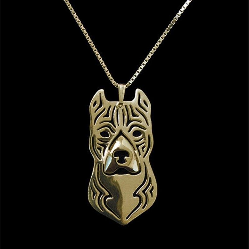 Оптовая продажа мультфильм Boho Chic сплав американский стаффордширский терьер ожерелье питбуль кулон серебро/золото два цвета покрытием