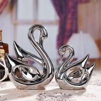 2PCS Home Decor Creative Jewelry Ornaments Living Room Crafts Ceramic White Swan wedding decoration