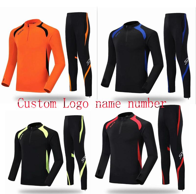 soccer men uniform Football clothes suit half zipper kid custom leg pants men/women training running clothes long sleeve jersey