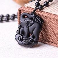 Uitgebreide Chinese handgemaakte collectie Obsidiaan baby olifant standbeeld Hanger