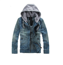 2018 Autumn Winter Men Jeans Jacket Zipper Hooded Denim Coat Detachable Plus Size Streetwear