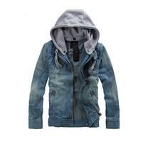 2018 Autumn Winter Men Jeans Jacket Men Zipper Hooded Denim Coat Detachable Denim Jacket Plus Size Denim Jacket Jeans Streetwear недорого