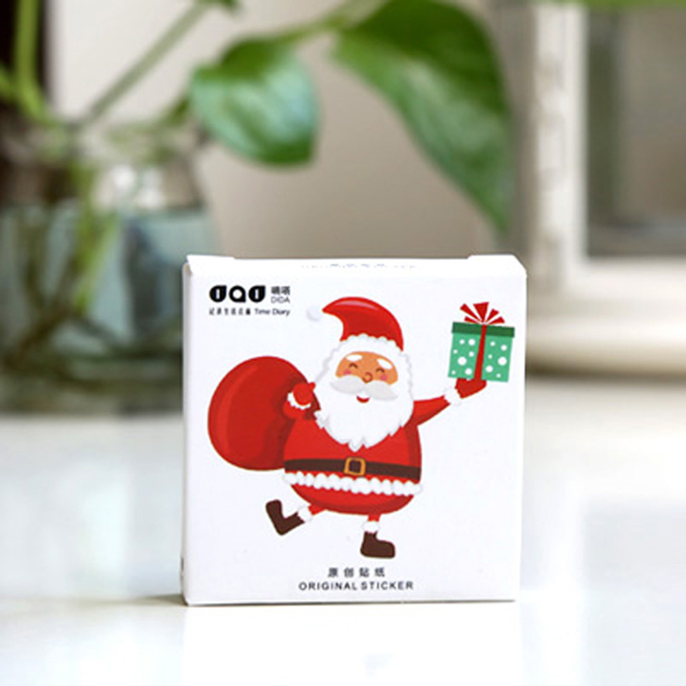 Купить с кэшбэком 48pcs/box Santa Claus Sticker Merry Christmas Cake Decorative Sticker Scrapbook Diy Diary Album Sticker Decoration