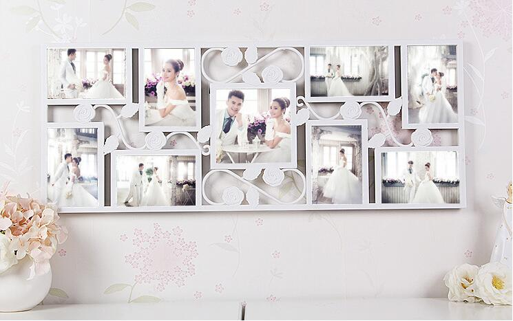 White Rose Collage Photo Organization 9 Picture Frame Wall Hanging Display  Wedding Room Decor-in Frame from Home & Garden on Aliexpress.com | Alibaba  ...