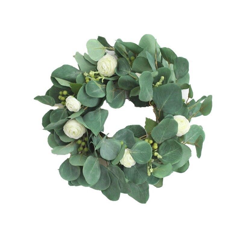 Simulation plastique feuilles d'eucalyptus plantes couronnes Arrangements mariage fleur artificielle saint valentin fleur décorative