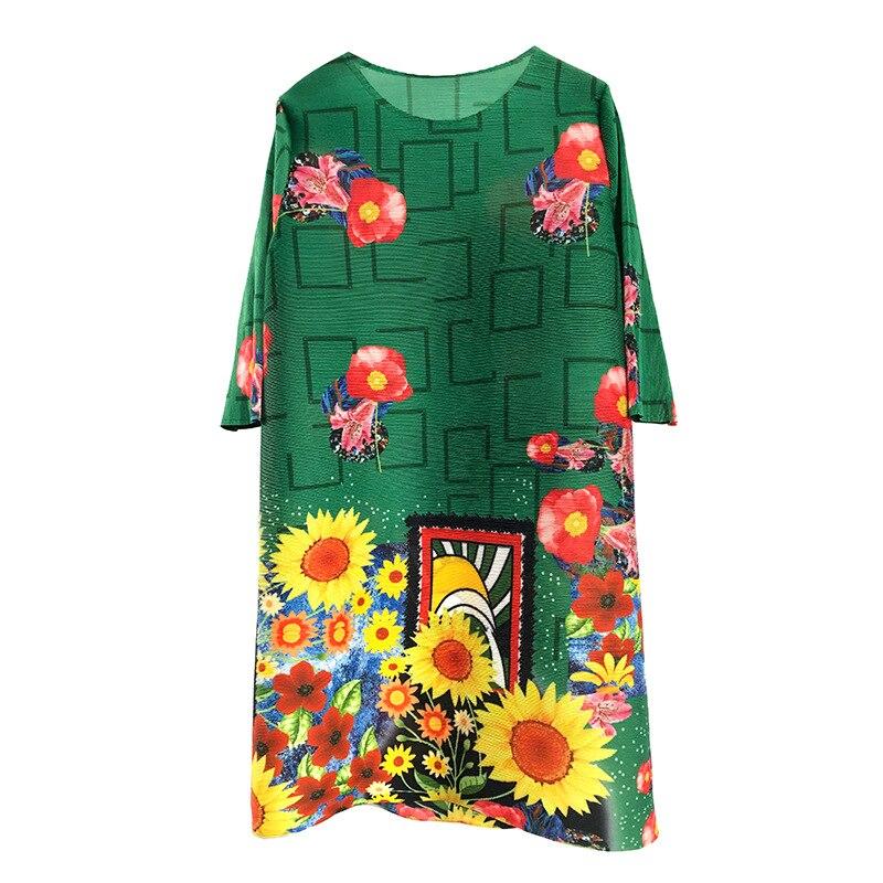 2009 explosif femmes usure moyen tournesol imprimé MIYAKE froissé robe plissée robes PLZ80296 livraison gratuite