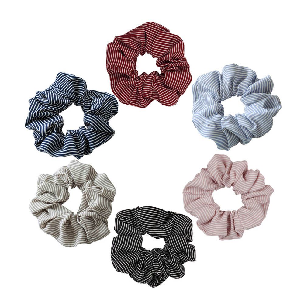 Elasticity Scrunchie New Hot Ponytail Holder Hairband Hair Rope Tie Fashion Striped Rubber Band Women Girls Gum For Hair