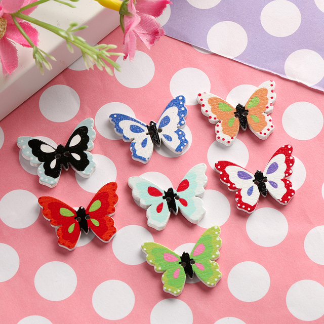 random color 50 pcs wooden buttons butterfly shape mixed color 2 holes round - Butterflies To Color 2