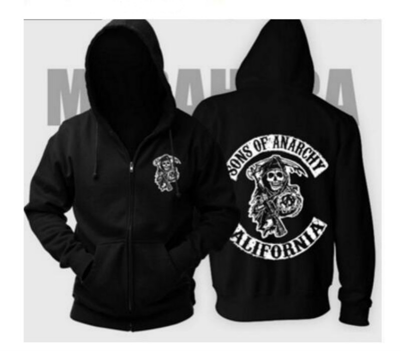 New Arrival Hot TV Sons Of Anarchy Cosplay Costume Mens Zipper Hoodie  Warm Coat Jacket   Autumn Winter  Sweatshirts Hoodie
