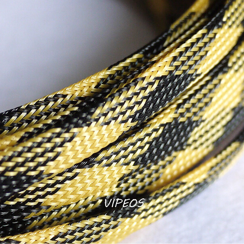 3Meter Braided Cable 8 15mm Wiring Harness Loom Protection/Sleeving  Black&Gold for DIY cable-in Audio & Video Cables from Computer & Office on  ...