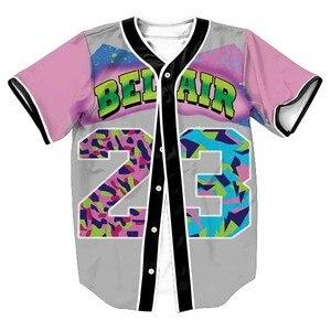 Mężczyzna Homme 3D koszule odzież typu streetwear z krótkim rękawem koszulki Hip Hop Bel Air 23 świeże książę chłód kwiat koszulka baseballowa