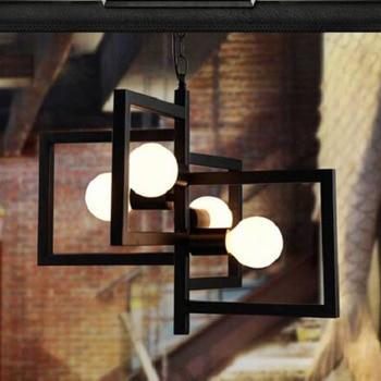 Simple geometric Pendant Lights creative personality bar lamp iron restaurant cafe clothing store lighting E27