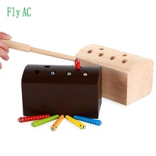 Montessori New Fashion Cute catch bugs cognition match recreation kids puzzle wood Toys For Kids Birthday Reward