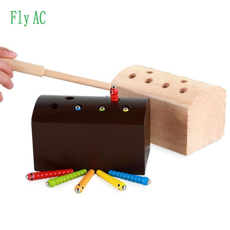 Montessori New Style Cute Catch Insects Cognition Match Game Children Puzzle Wooden Toys For Children Birthday Gift