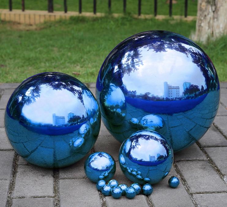 1 pièces 200 MM acier inoxydable boule creuse miroir poli bleu brillant sphère pour les types d'ornement et de décoration