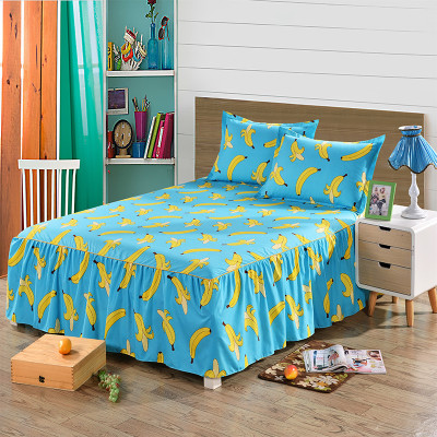 LYN&GY New Watermelon Banana Fruit Bedding Set Moon Star Bed Skirt Pillowcase Set Cartoon Plaid Bed Linens Bedspread 3pcs/set