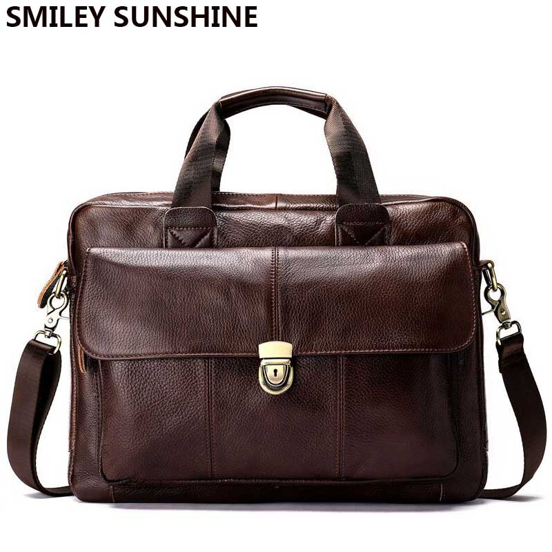 Здесь можно купить  100% Genuine Leather Men Bags Fashion Male Messenger Bag Black Big Cow Leather Handbag Briefcase Male Shoulder Bag for Men 2018  Камера и Сумки